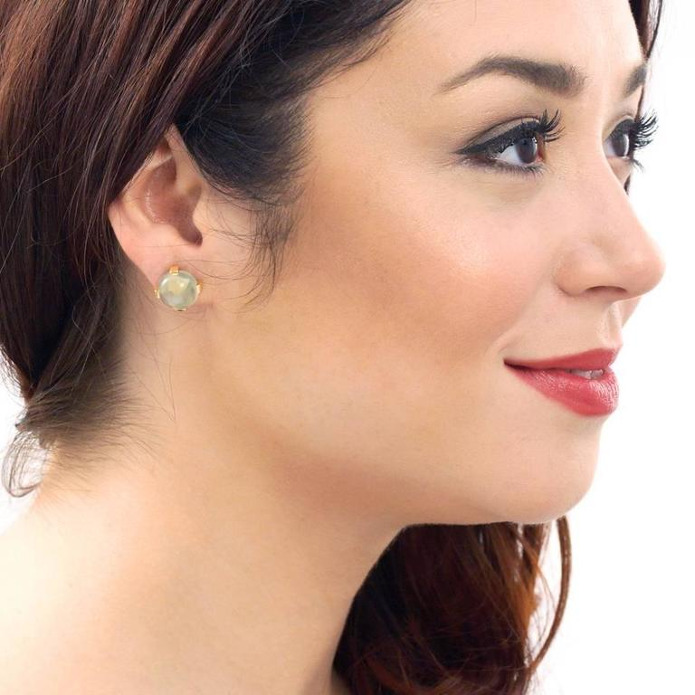 Modernist Moonstone Earrings in Gold 2