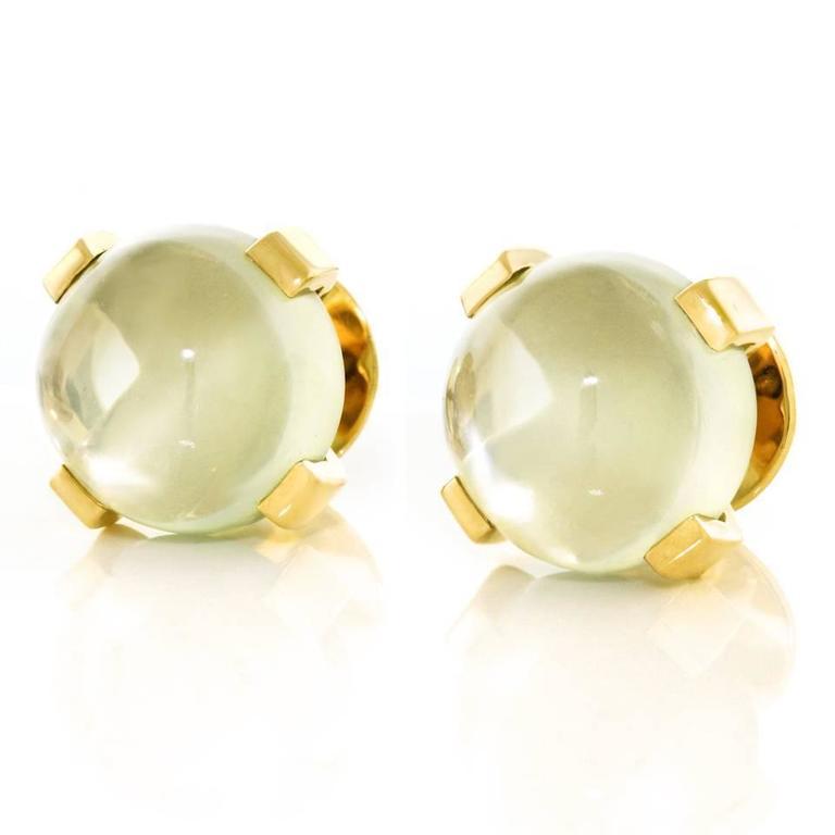 Modernist Moonstone Earrings in Gold 3