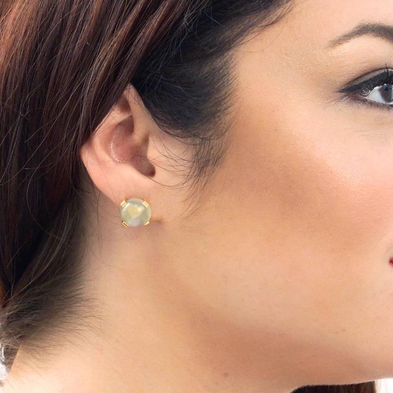 Modernist Moonstone Earrings in Gold 4