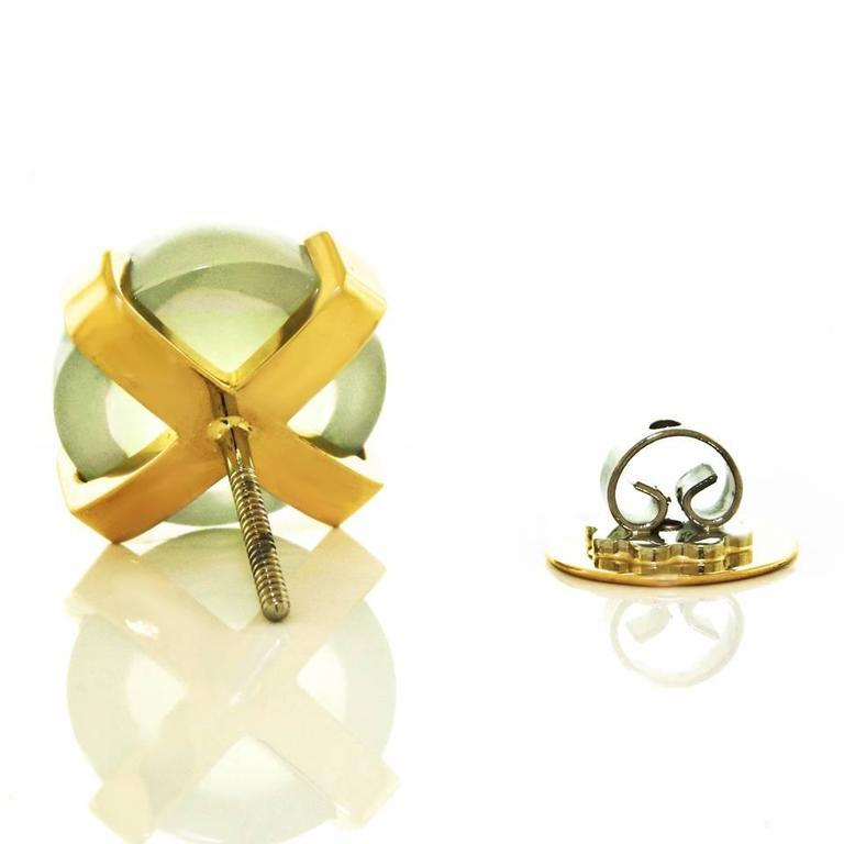 Modernist Moonstone Earrings in Gold 5