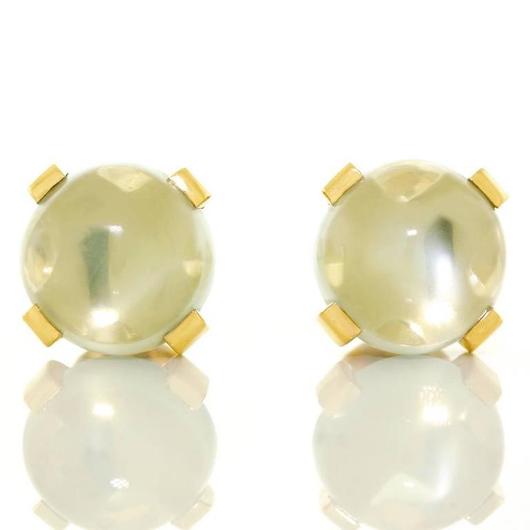 Modernist Moonstone Earrings in Gold 8