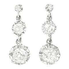 Antique Diamond Platinum Chandelier Earrings
