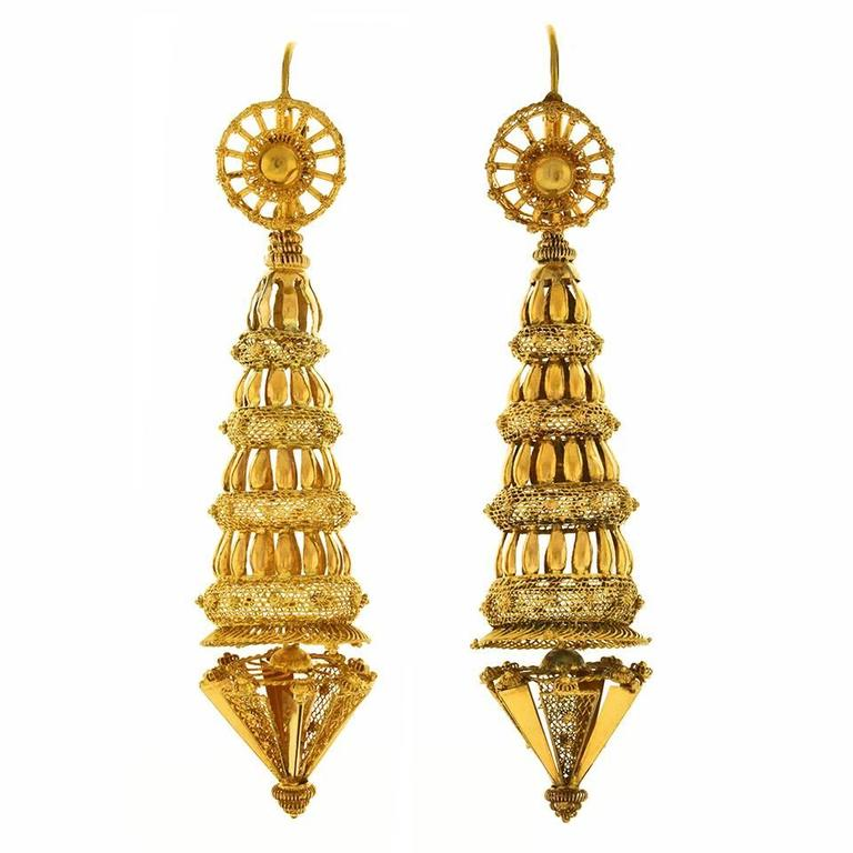 Antique French Chinoiserie Gold Earrings And Necklace For