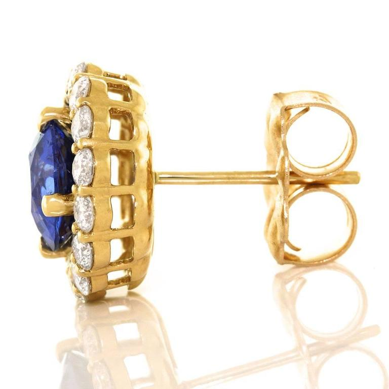 Cornflower Blue Sapphire Diamond Gold Earrings For Sale 3