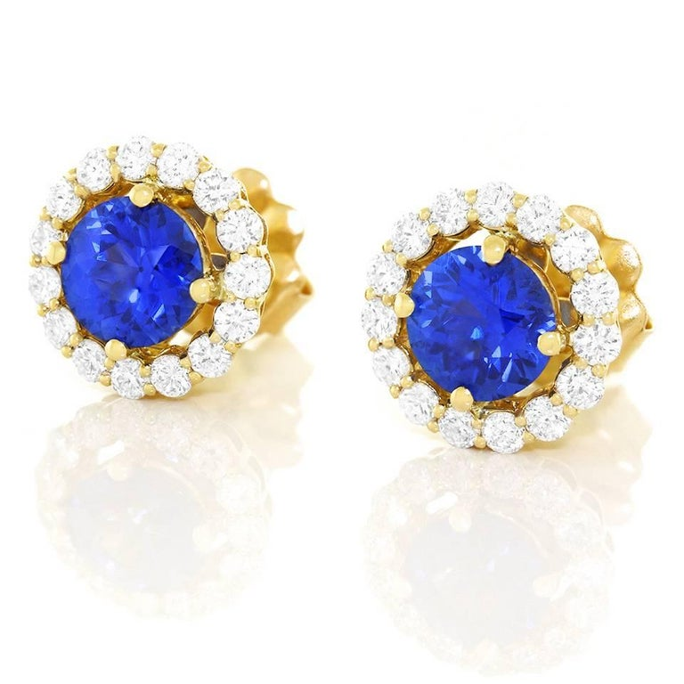Cornflower Blue Sapphire and Diamond set Gold Earrings For Sale 5