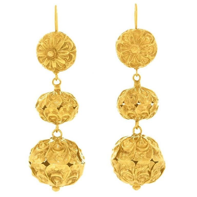Long Victorian Yellow Gold Chandelier Earrings