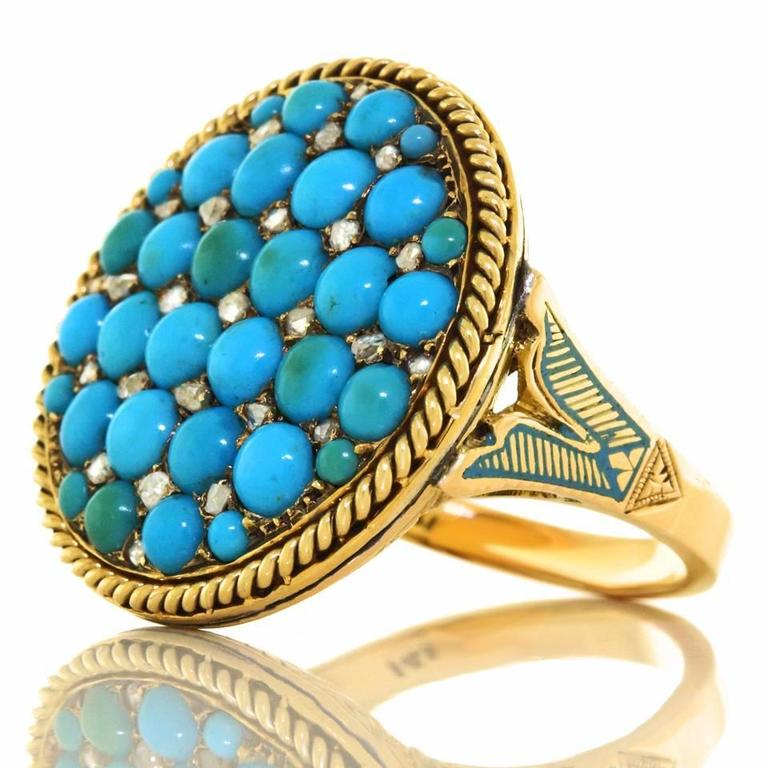 Antique Enamel Persian Turquoise Diamond Roped Gold Ring 2