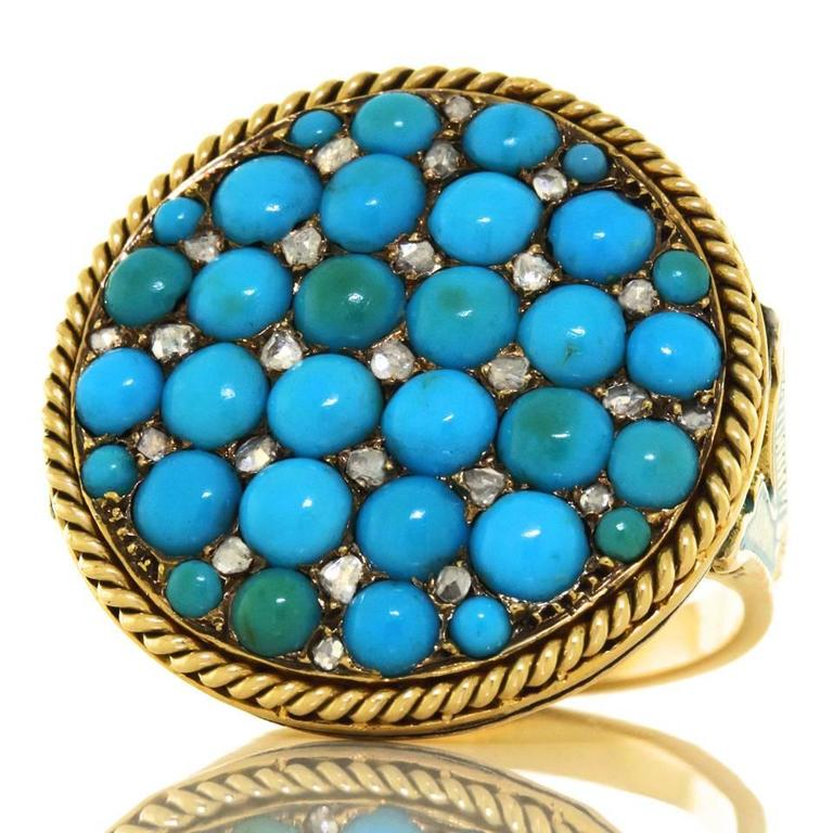 Antique Enamel Persian Turquoise Diamond Roped Gold Ring 4