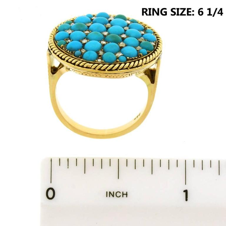 Antique Enamel Persian Turquoise Diamond Roped Gold Ring 7