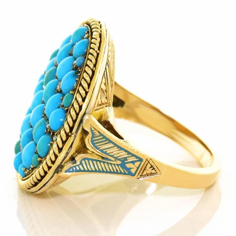 Antique Enamel Persian Turquoise Diamond Roped Gold Ring 8