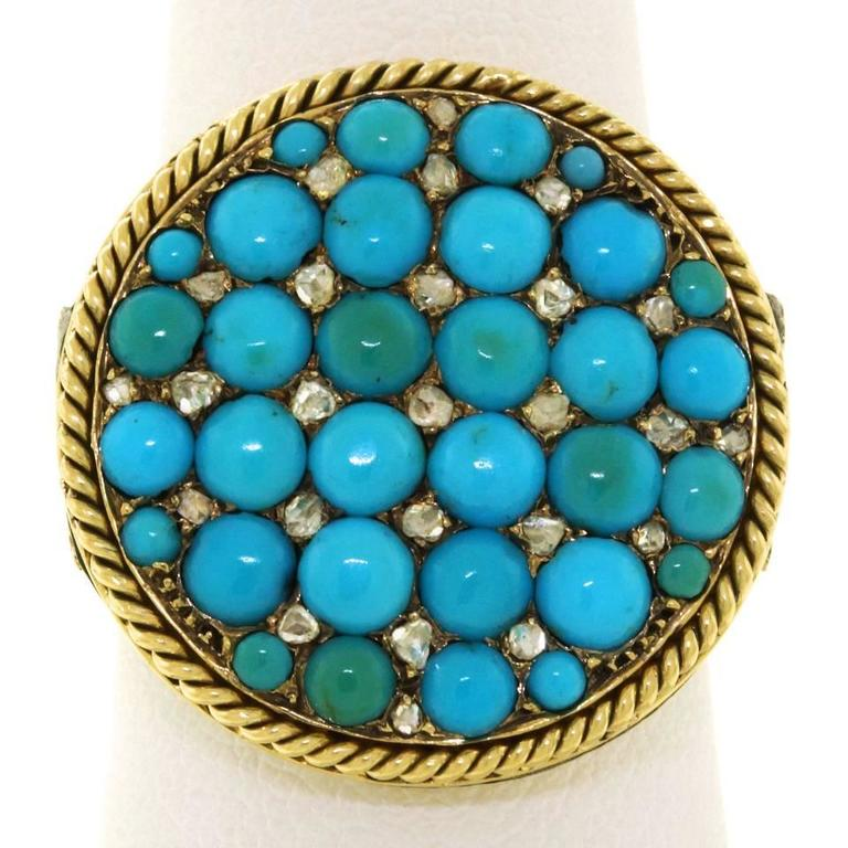 Antique Enamel Persian Turquoise Diamond Roped Gold Ring 9