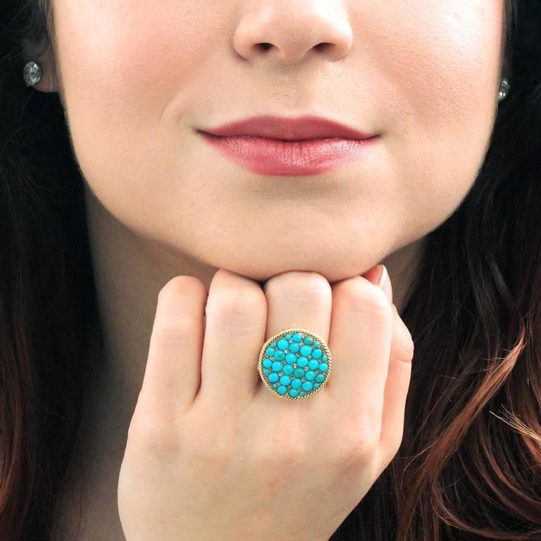 Antique Enamel Persian Turquoise Diamond Roped Gold Ring 5