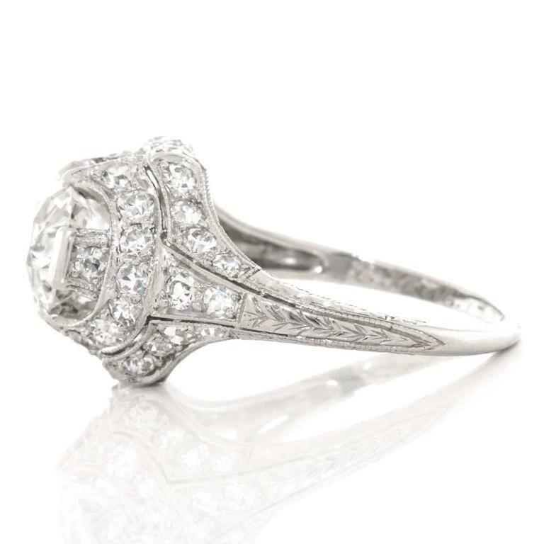 Art Deco 1.68ct Diamond Platinum Engagement Ring For Sale 4