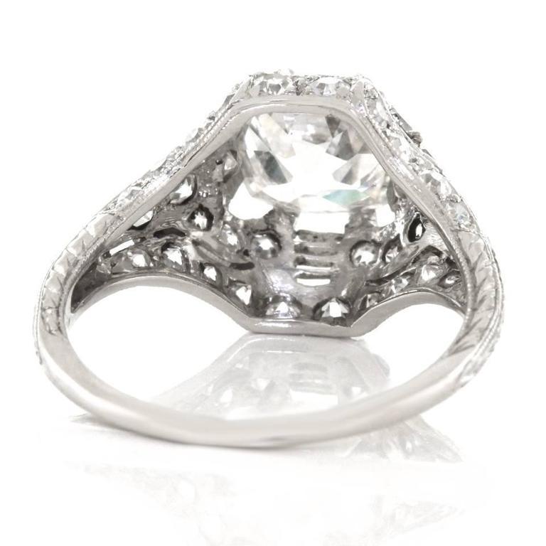 Art Deco 1.68ct Diamond Platinum Engagement Ring For Sale 3