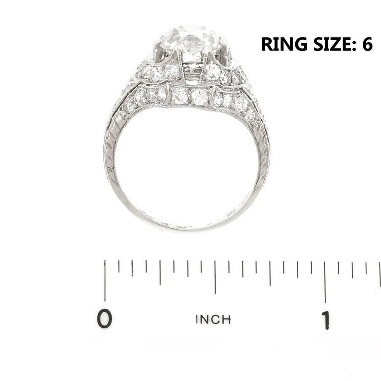 Art Deco 1.68ct Diamond Platinum Engagement Ring For Sale 2