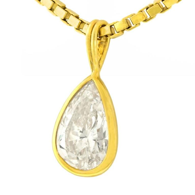 2.45 Carat Pear-Shaped Diamond Pendant In Excellent Condition For Sale In Litchfield, CT