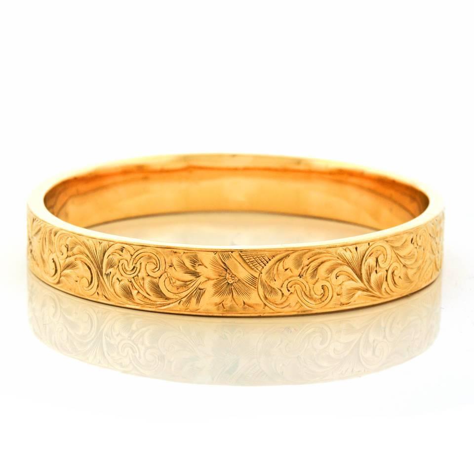 1920s Wordley Allsopp And Bliss Gold Bangle Bracelet For