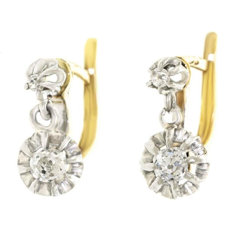 92aafb3acd4673 Antique French Diamond White Gold Drop Earrings For Sale at 1stdibs