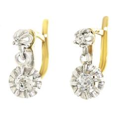 Antique French Diamond White Gold Drop Earrings