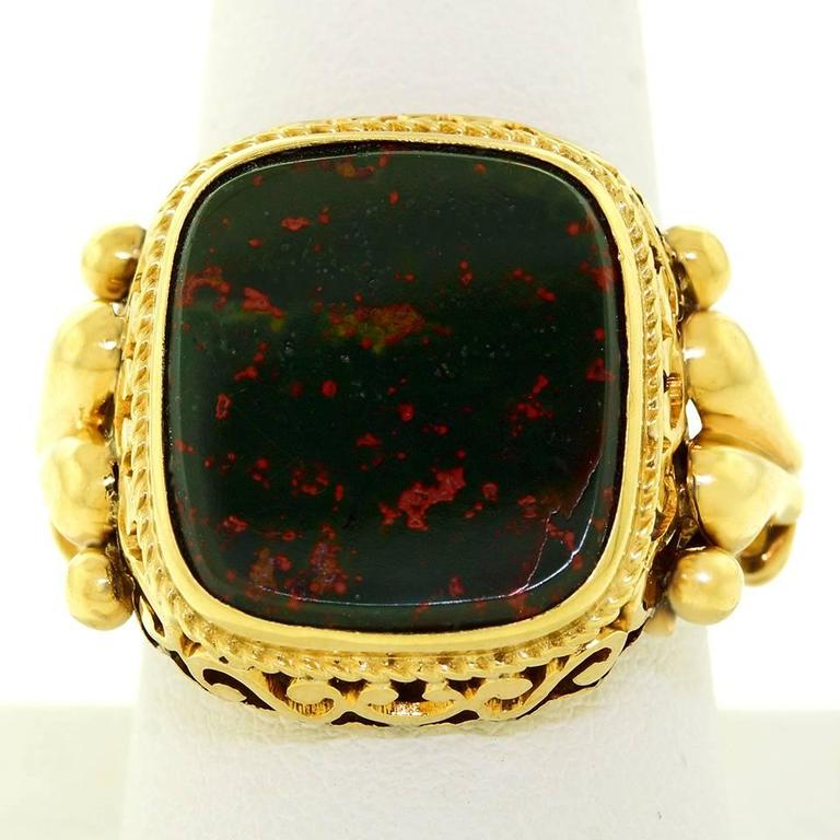 Unusually Fine Antique Bloodstone Gold Signet Ring At 1stdibs
