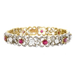Antique Silver over Gold Diamond and Ruby Bracelet
