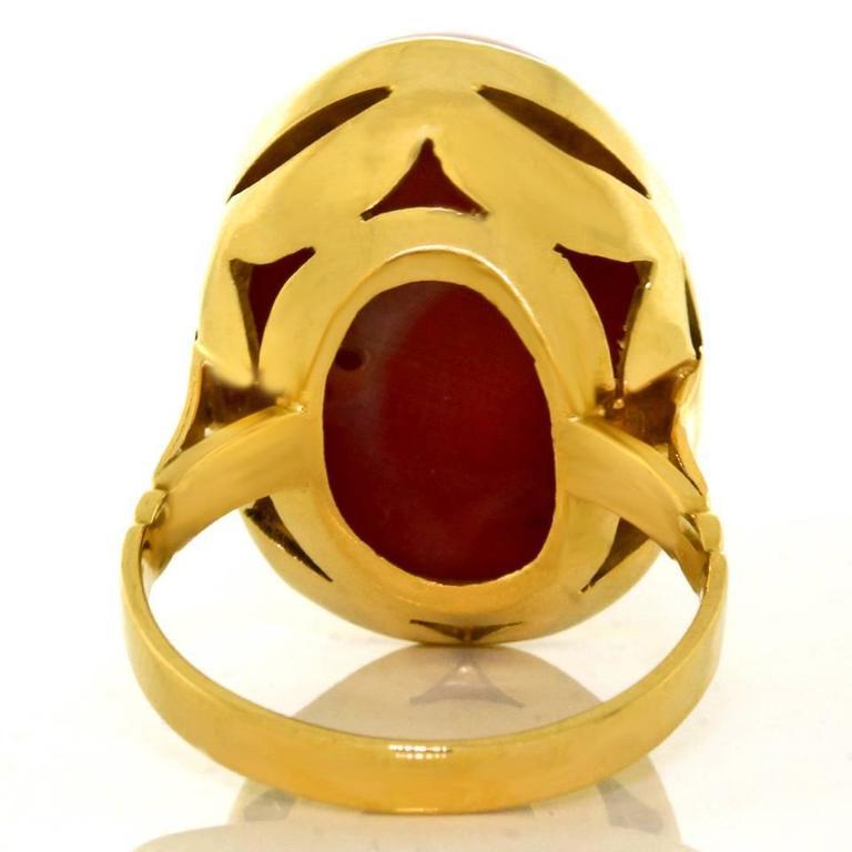 1960s Natural Coral Yellow Gold Ring 7
