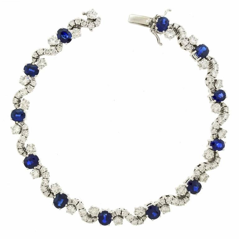 Chic 1960s Sapphire and Diamond-set White Gold Bracelet For Sale 2