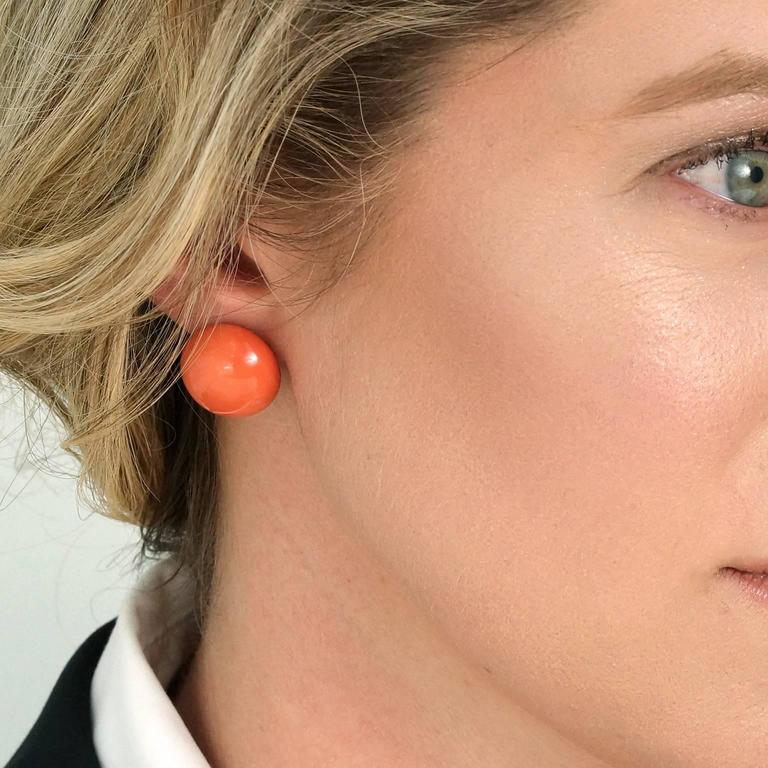 Tiffany & Co. Natural Coral Earrings in Gold GIA Report 4