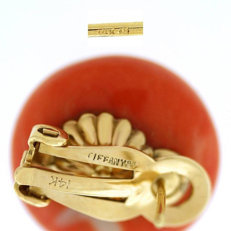 Tiffany & Co. Natural Coral Earrings in Gold GIA Report 5