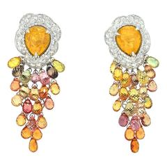 Spectacular Adler of Geneva Sapphire and Diamond Earrings