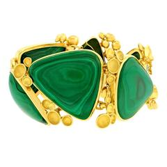 Modernist Malachite and Gold Bracelet