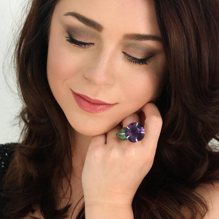 Chanel Amethyst and Tsavorite Flower Ring 2