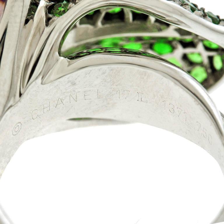 Chanel Amethyst and Tsavorite Flower Ring 5