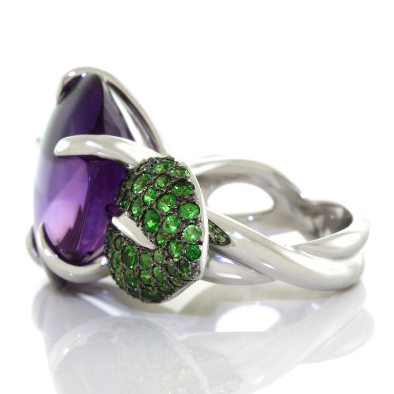 Chanel Amethyst and Tsavorite Flower Ring For Sale 3