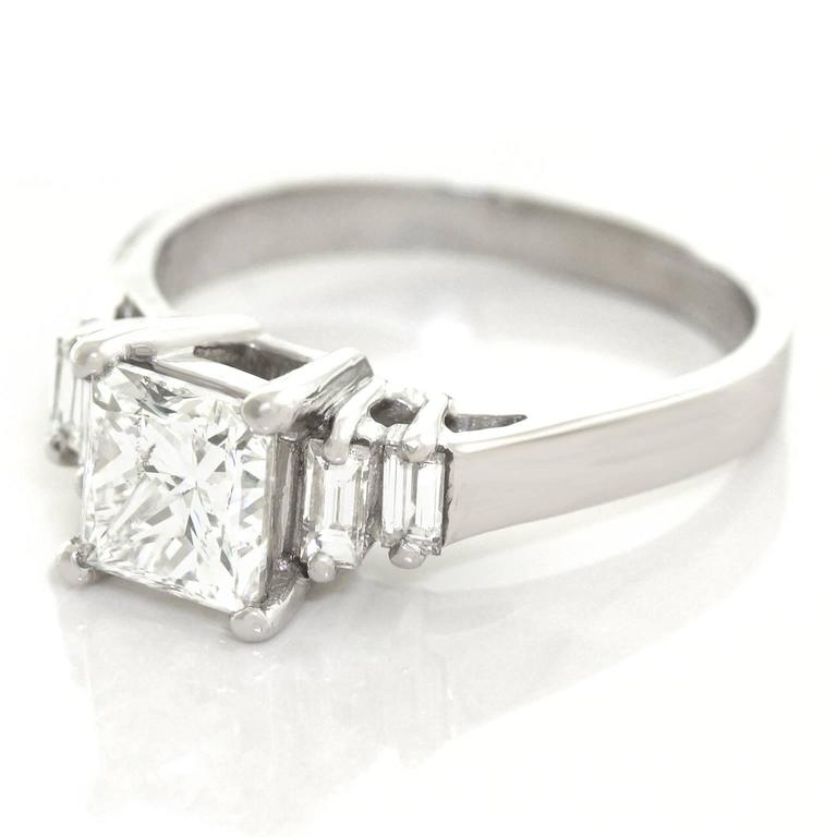 Princess Cut 1 81 Carat Diamond and Platinum Engagement Ring GIA For Sale at