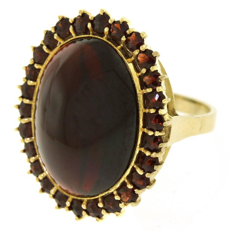 Fabulous Bohemian Garnet Gold Ring In Excellent Condition For Sale In Litchfield, CT