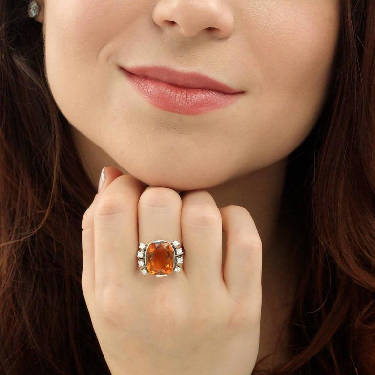 Women's Modernist 8.5 Carat Citrine and Diamond White Gold Ring For Sale