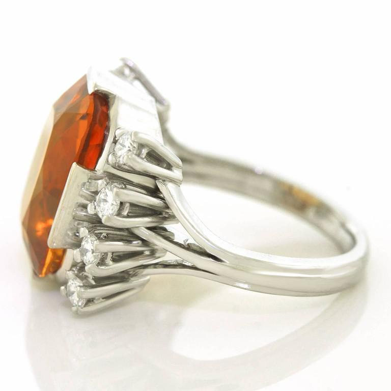 Modernist 8.5 Carat Citrine and Diamond White Gold Ring For Sale 3