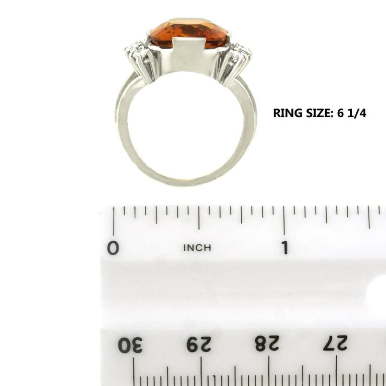 Modernist 8.5 Carat Citrine and Diamond White Gold Ring For Sale 2