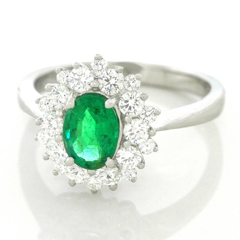 Vibrant Emerald and Diamond Ring in White Gold 3
