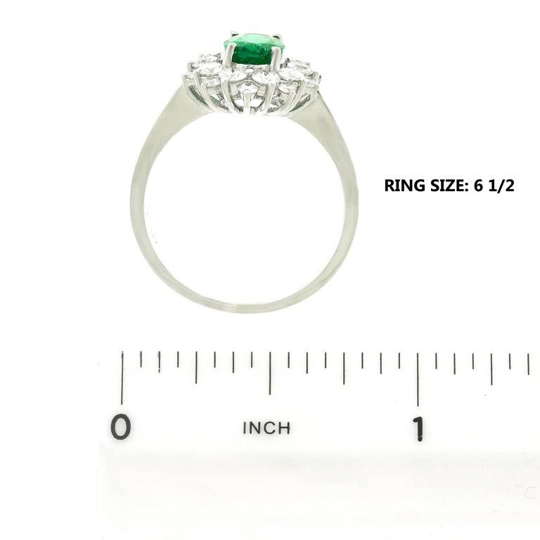 Vibrant Emerald and Diamond Ring in White Gold 6
