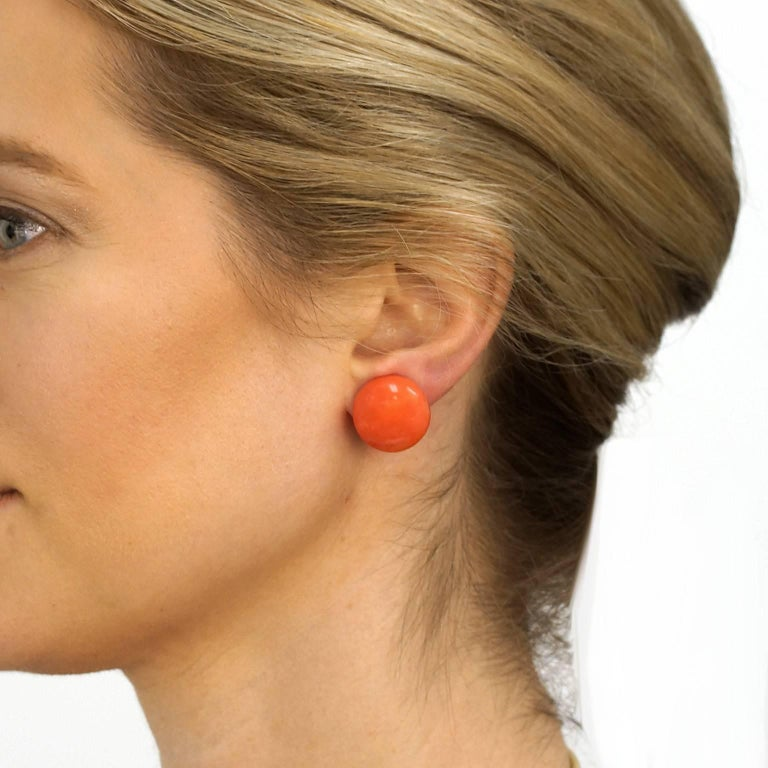 Large Natural Coral Earrings 4
