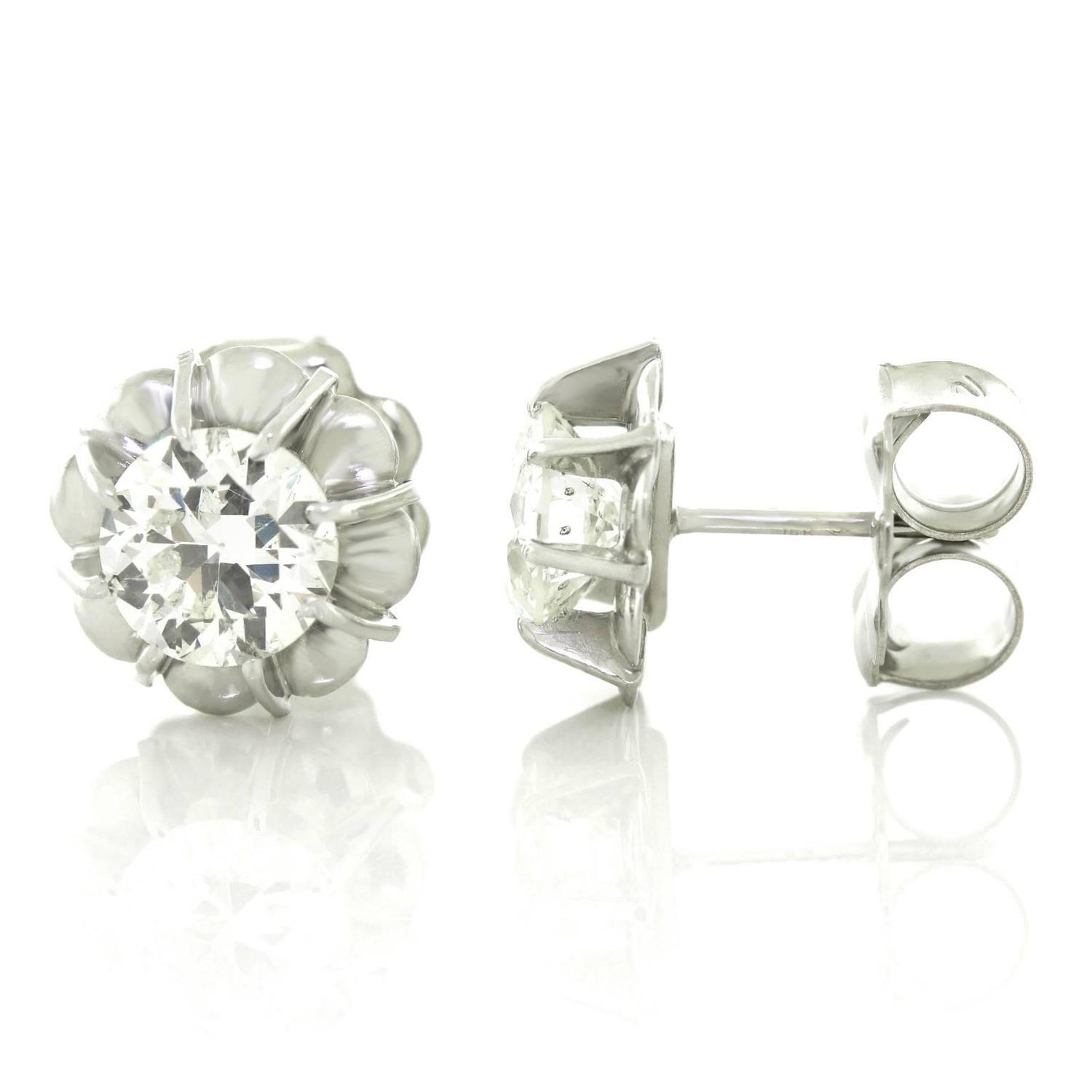 deco platinum gold stud earrings for sale at 1stdibs