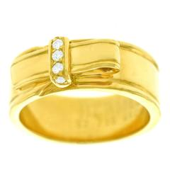 Hermes Gold Buckle Ring with Diamonds