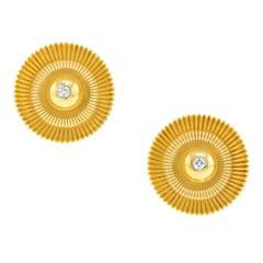 Tiffany & Co. Fifties Modernist Gold Ribbon Earrings