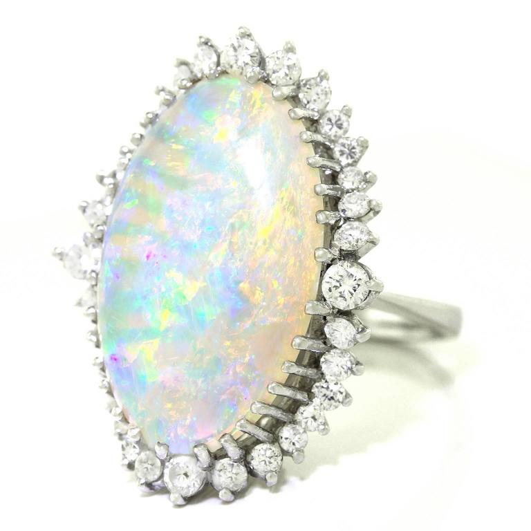Superb Opal and Diamond White Gold Ring 8
