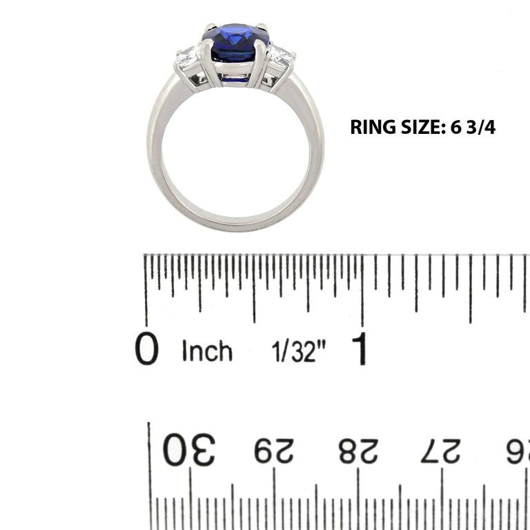 2.50 Carat Sapphire, Diamond and Platinum Ring GIA Certified For Sale 2