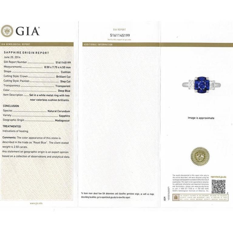 2.50 Carat Sapphire, Diamond and Platinum Ring GIA Certified For Sale 3