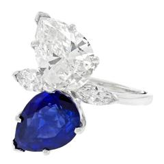 Stunning Diamond Sapphire and Platinum Ring