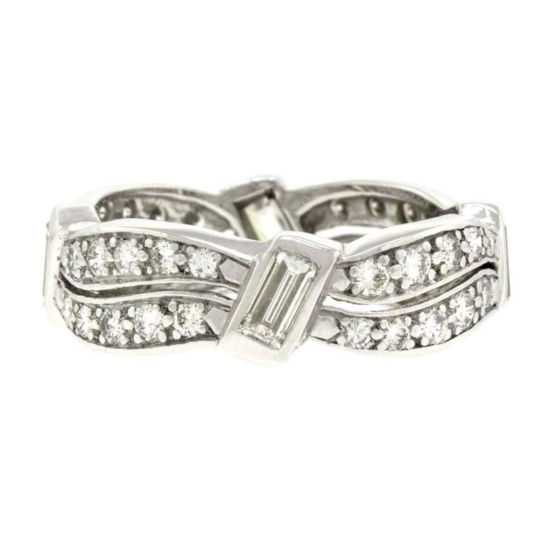 1960s Unusual Diamond-Set Platinum Band Ring For Sale 1